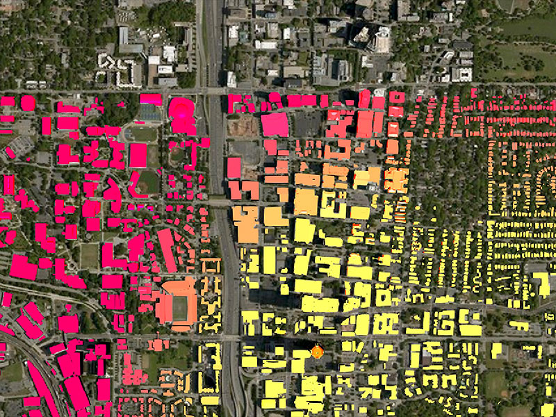 Heat map with red and yellow colors showing digitally connected parts of a city.